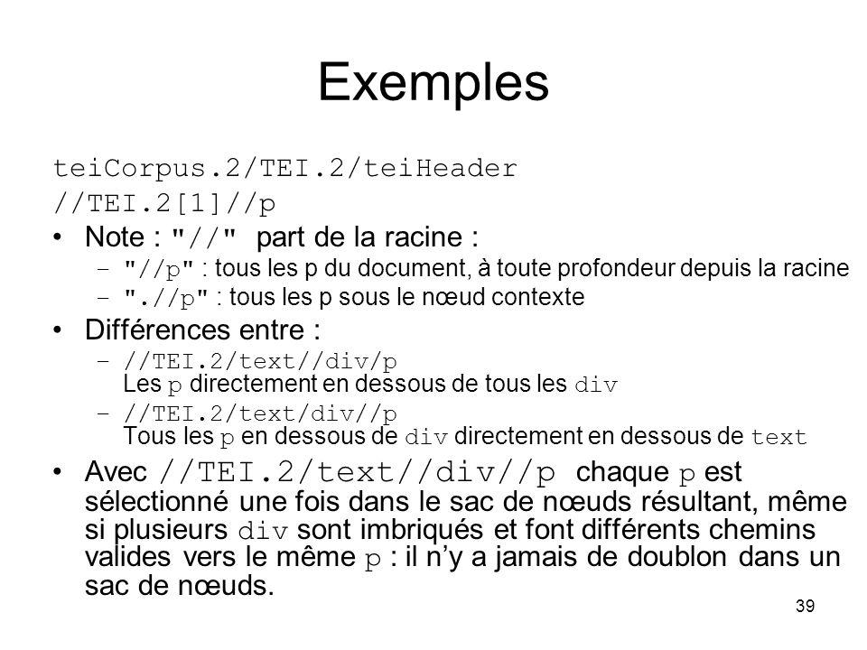 Exemples teiCorpus.2/TEI.2/teiHeader //TEI.2[1]//p